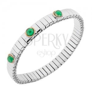 Roztahovací náramek z oceli stříbrné barvy, smaragdově zelené kuličky