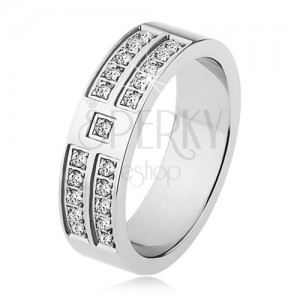 Lesklý prsten z oceli stříbrné barvy, ozdobné linie čirých zirkonů