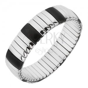 Strečový ocelový náramek, podélné pásy černé a stříbrné barvy