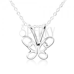 Stříbrný náhrdelník 925, motýlek s vyřezávanými křídly