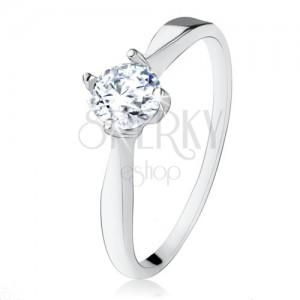 Zásnubní stříbrný prsten 925, broušený čirý zirkon, úzká ramena