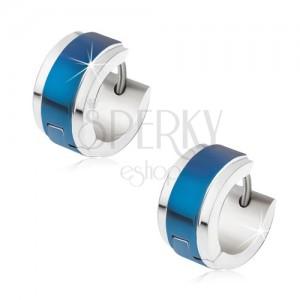 Náušnice z oceli stříbrné barvy, modrý lesklý pás uprostřed