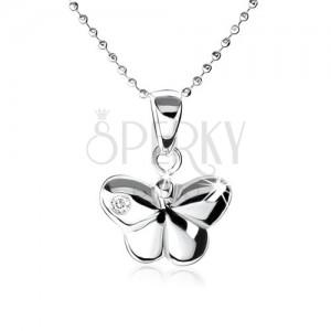 Stříbrný náhrdelník 925, vypouklý motýlek s ozdobným zirkonem