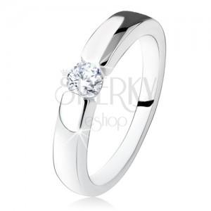 Stříbrný zásnubní prsten 925, hladká a lesklá ramena, kulatý zirkon
