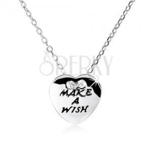 """Stříbrný náhrdelník 925, ploché srdce s nápisem """"MAKE A WISH"""""""