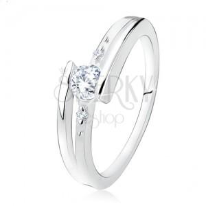 Zásnubní prsten ze stříbra 925, rozdvojená ramena, čirý zirkon, kuličky