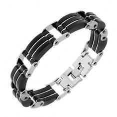 Ocelový náramek, trojité černé pryžové části, pásky stříbrné barvy
