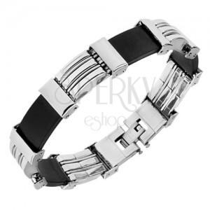 Ocelovo-pryžový náramek, stříbrná a černá barva, dekorativní zářezy
