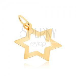 Přívěsek ve žlutém 9K zlatě - lesklý obrys šesticípé ploché hvězdy