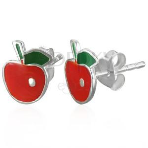 Náušnice stříbrné jablíčko s lístkem