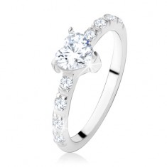 Zásnubní prsten ze stříbra 925, zirkonové srdíčko, zdobená ramena SP13.01