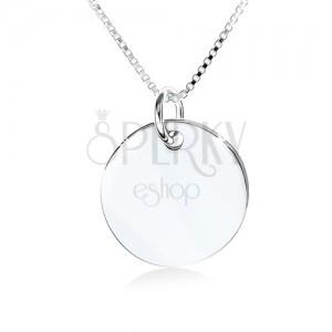 Stříbrný náhrdelník 925, zrcadlově lesklá kruhová známka bez vzoru