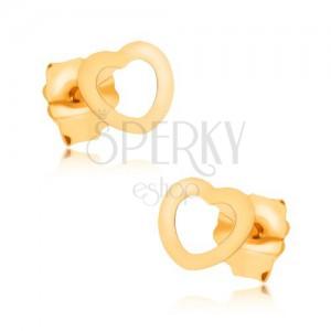 Zlaté puzetové náušnice 375, lesklá kontura malého symetrického srdce