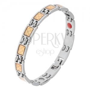 Ocelový náramek stříbrné a zlaté barvy, šachovnicový vzor, magnety