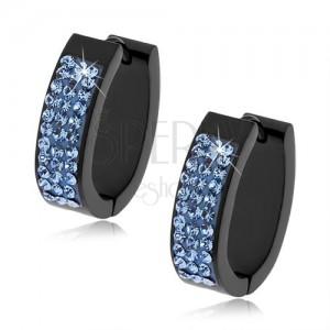 Oválné kloubové náušnice z oceli černé barvy, světle modré kamínky