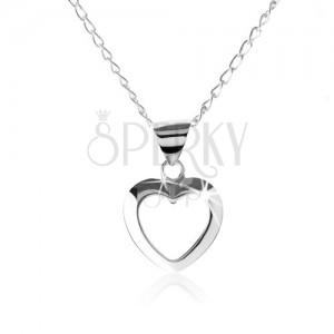 Stříbrný náhrdelník 925, kontura symetrického srdíčka