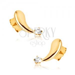 Náušnice ze žlutého 9K zlata - vypouklé zrcadlově lesklé slzičky, zirkon