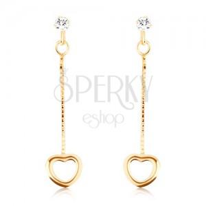 Náušnice ze žlutého 9K zlata - visací řetízky s obrysy srdcí na koncích