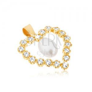 Přívěsek ze žlutého 9K zlata, zirkonová kontura srdce, slzičková perla uprostřed
