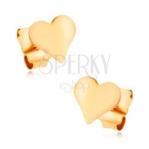 Náušnice ve žlutém 9K zlatě - malé hladké pravidelné srdíčko, vysoký lesk