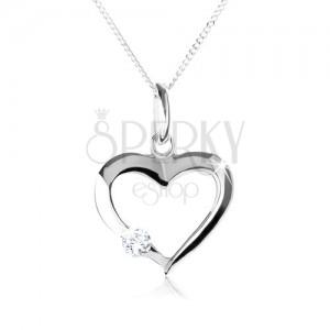 Stříbrný náhrdelník 925, obrys symetrického srdce s čirým zirkonem