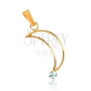 Lesklý zlatý přívěsek 375 - kontura srpku měsíce, drobný, světle modrý topas