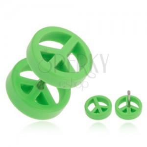 Falešný plug do ucha z akrylu, světle zelený symbol míru