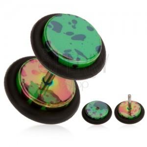Fake plug do ucha, akrylový, tmavě zelený podklad, olejové skvrny