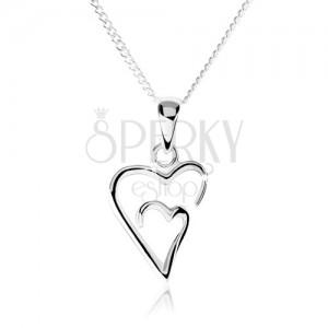 Stříbrný náhrdelník 925, dvojitý obrys asymetrického srdce