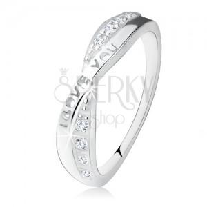 """Stříbrný prsten 925, překřížená ramena, zirkony, nápis """"I LOVE YOU"""""""