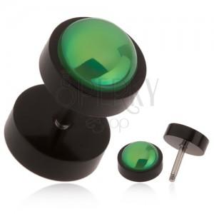 Černý falešný plug do ucha z akrylu, zelená kulička s duhovým leskem