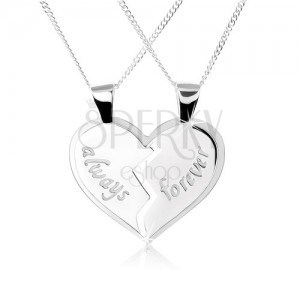 """Náhrdelník ze stříbra 925, dvojpřívěsek - rozpůlené srdce, nápisy """"always"""", """"forever"""""""