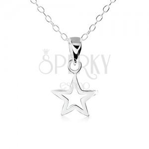 Stříbrný náhrdelník 925, obrys ploché pěticípé hvězdičky