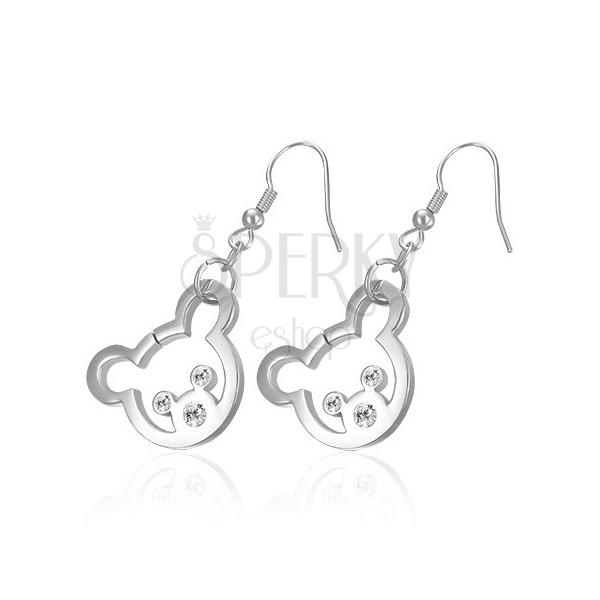 Ocelové náušnice stříbrné barvy - medvídek se zirkonovými očky a nosem