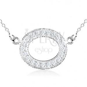 Stříbrný náhrdelník 925, ovál zdobený čirými zirkony a kuličkami
