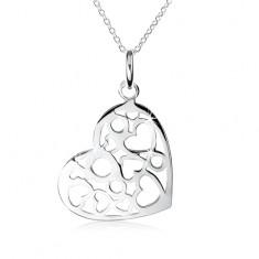 Stříbrný náhrdelník 925, přívěsek ve tvaru srdce s výřezy ve tvaru srdcí a kruhů SP09.12