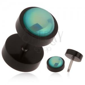 Černý falešný plug do ucha z akrylu, tyrkysová kulička s duhovým leskem