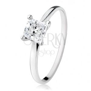 Zásnubní prsten ze stříbra 925, zirkonový čtverec, úzká ramena