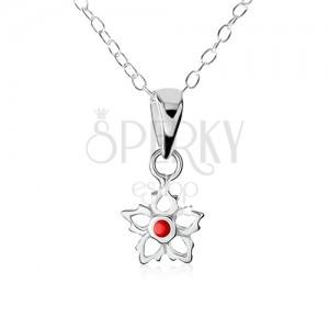 Stříbrný náhrdelník 925, obrys květu s červenou kuličkou uprostřed