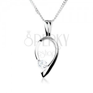 Stříbrný náhrdelník 925, obrys obrácené kapky s čirým zirkonem