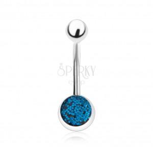 Piercing do břicha z oceli, stříbrný odstín, tmavě modré glitry