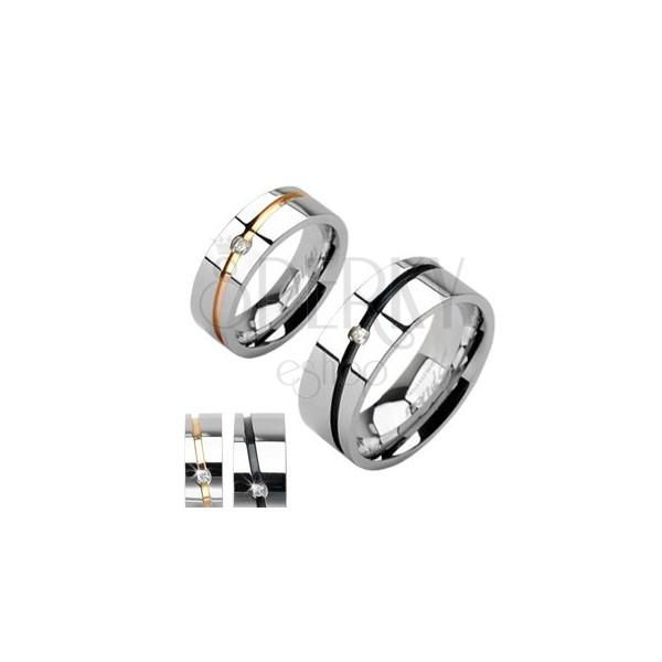 Ocelové snubní prsteny stříbrný, zlatý pruh, černý pruh se zirkonem