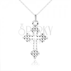 Náhrdelník ze stříbra 925, kříž - ozdobná ramena, kuličky na povrchu