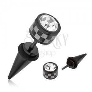 Ocelový fake taper do ucha, černá barva, šachovnicový vzor, čirý zirkon
