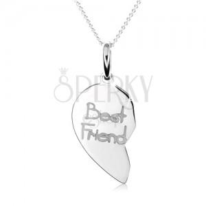 """Dvojitý stříbrný náhrdelník 925, dvojpřívěsek ve tvaru srdce, nápis """"Best Friend"""""""