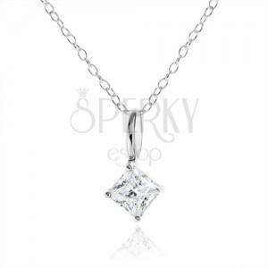 Stříbrný náhrdelník 925, čirý zirkonový kosočtverec, ozdobný kotlík