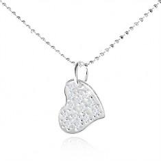 Stříbrný náhrdelník 925, asymetrické srdce s čirými zirkony SP03.11