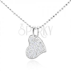 Stříbrný náhrdelník 925, asymetrické srdce s čirými zirkony