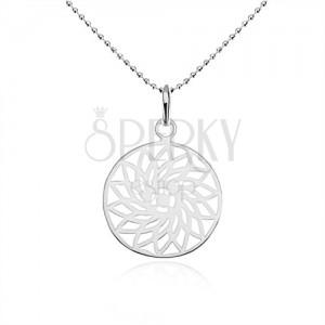 Stříbrný náhrdelník 925, kuličkový řetízek, vyřezávaný květ v kruhu