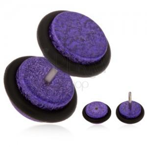 Akrylový falešný plug do ucha, fialový pískovaný povrch, gumičky